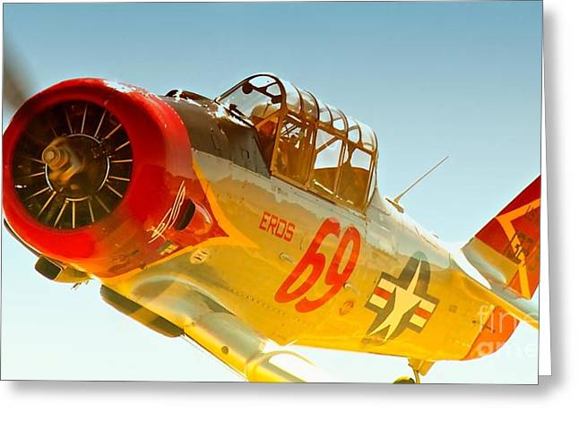 Reno Air Races Greeting Cards - Lee Oman and T-6 Race 69 Eros 2010 Reno Air Races Greeting Card by Gus McCrea