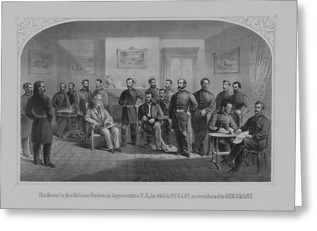 Lee Surrendering To Grant At Appomattox Greeting Card by War Is Hell Store