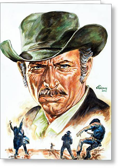 Sergio Leone Greeting Cards - Lee Van Cleef Greeting Card by Spiros Soutsos