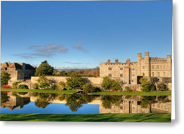 Leeds Greeting Cards - Leeds Castle and Moat Reflections Greeting Card by Chris Thaxter