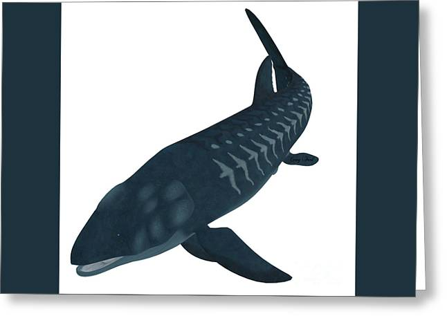 Sea Life Digital Art Greeting Cards - Leedsichthys Fish on White Greeting Card by Corey Ford