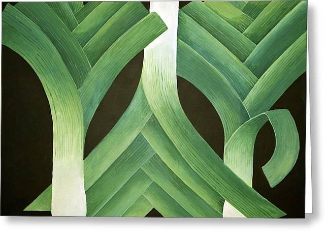 Veggie Greeting Cards - Leeks Greeting Card by Jennifer Abbot