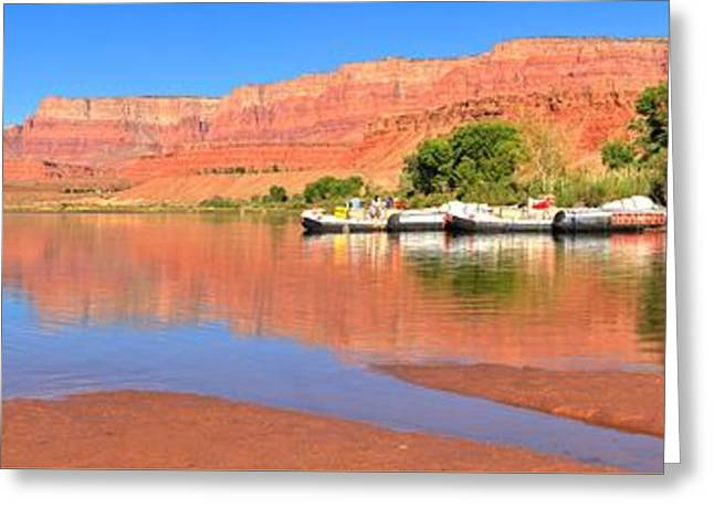 Cliff Lee Greeting Cards - Lees Ferry River Raft Panorama Greeting Card by Adam Jewell