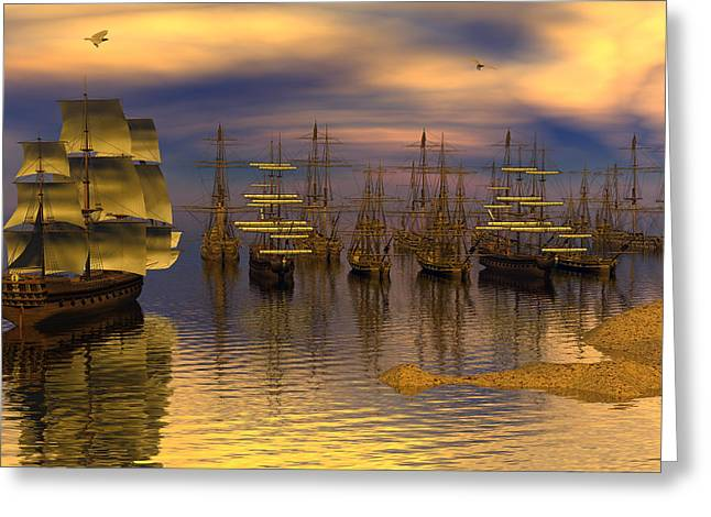 Leeward Anchorage Greeting Card by Claude McCoy