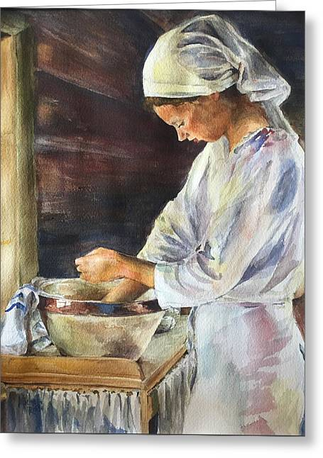 At Work Greeting Cards - Lefse Maker Greeting Card by Michelle Roise