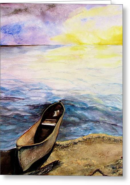 Canoe Greeting Cards - Left Alone Greeting Card by Lil Taylor