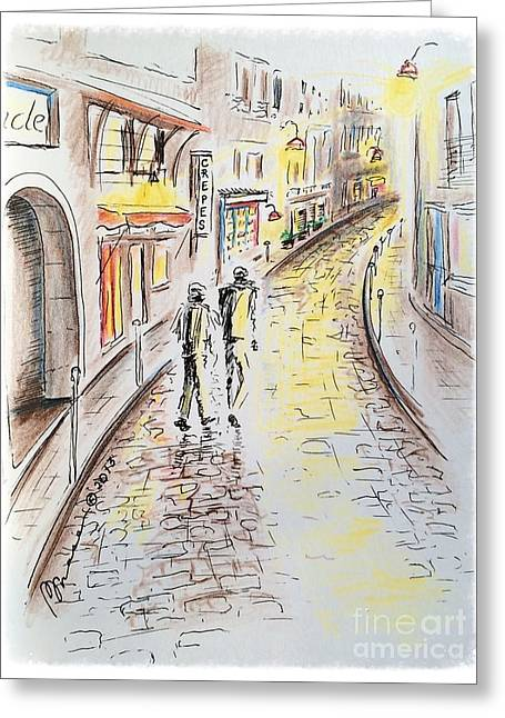 Night Lamp Drawings Greeting Cards - Left Bank Greeting Card by Barbara Chase