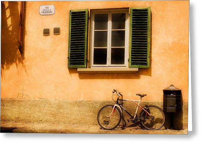 Left Flat In Lucca Greeting Card by Mick Burkey