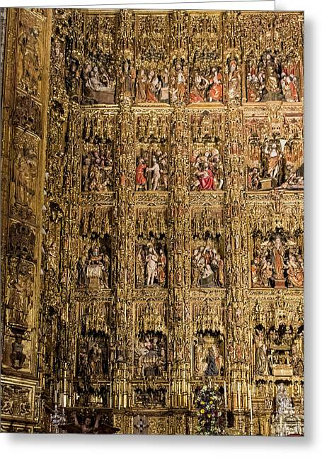 Retablos Greeting Cards - Left Half - The Golden Retablo Mayor - Cathedral of Seville - Seville Spain Greeting Card by Jon Berghoff