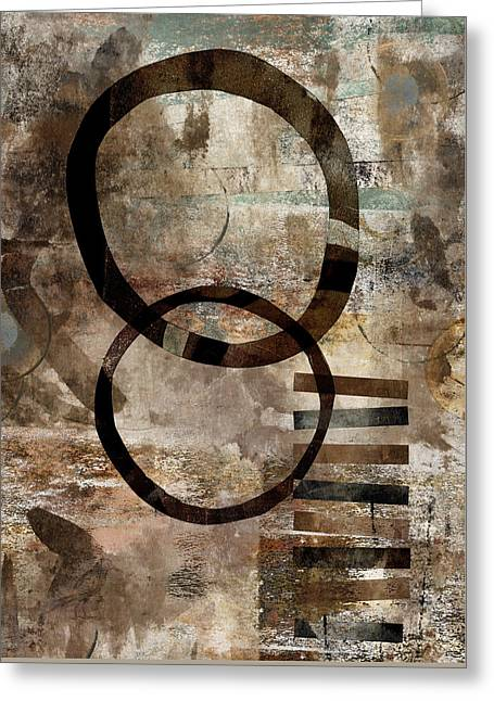 Beige Abstract Greeting Cards - Left of Eight  Greeting Card by Carol Leigh