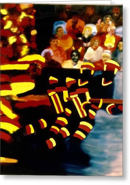 Hockey Paintings Greeting Cards - Left Wing Greeting Card by Ken  Yackel