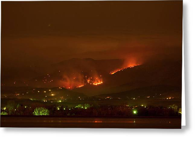 Colorado Fires Greeting Cards - Lefthand Canyon Wildfire Night Time View Greeting Card by James BO  Insogna