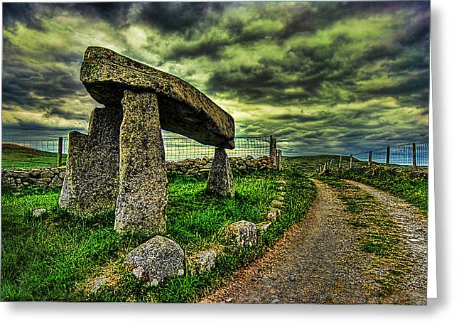 Road Picture Greeting Cards - Legananny Dolmen Greeting Card by Kim Shatwell-Irishphotographer