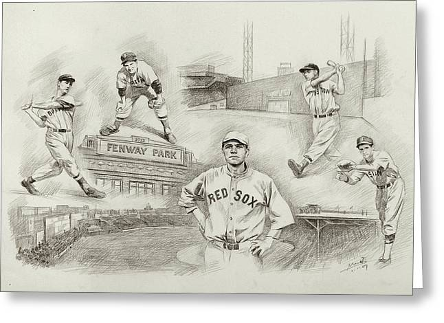 Red Sox Drawings Greeting Cards - Legend of Boston Red Sox Greeting Card by Mei  He