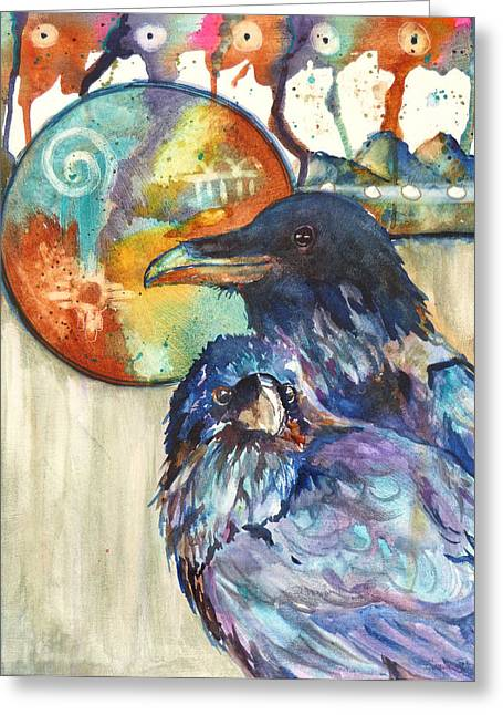 Legend Of The West Greeting Cards - Legend of the Raven Greeting Card by P Maure Bausch