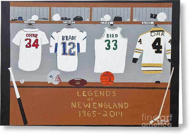 Larry Bird Greeting Cards - Legends of New England Greeting Card by Dennis ONeil