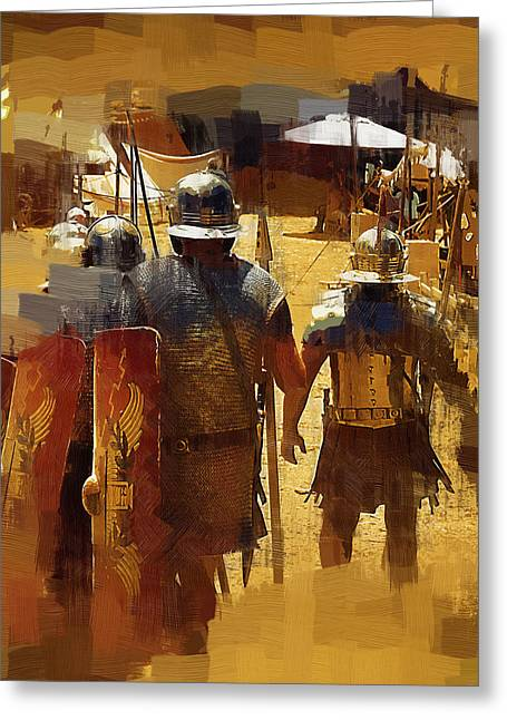 Centurion Greeting Cards - Legionnaires Marching to Camp Greeting Card by Clarence Alford