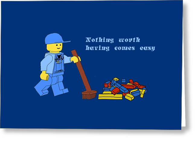 Lego Clean Up Greeting Card by Priscilla Wolfe