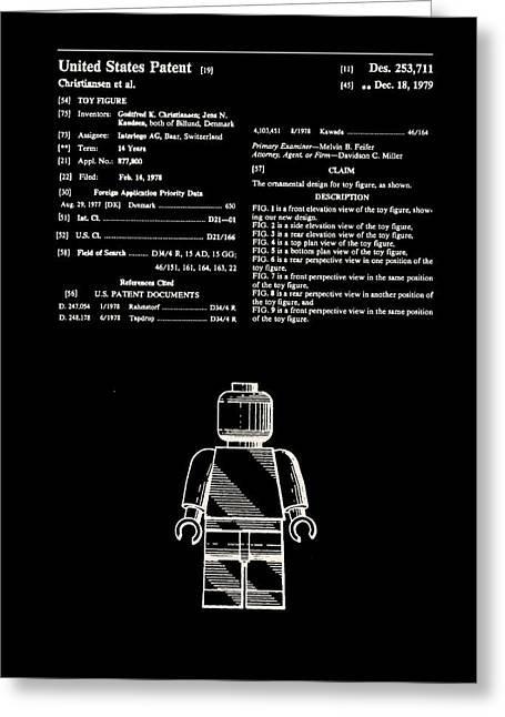Lego Man Patent 1979 Greeting Card by Claire Doherty
