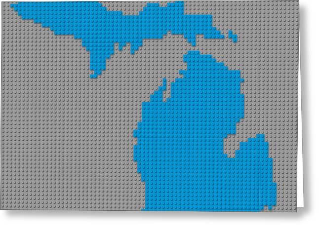 Lego Mixed Media Greeting Cards - Lego Map of Michigan Greeting Card by Design Turnpike