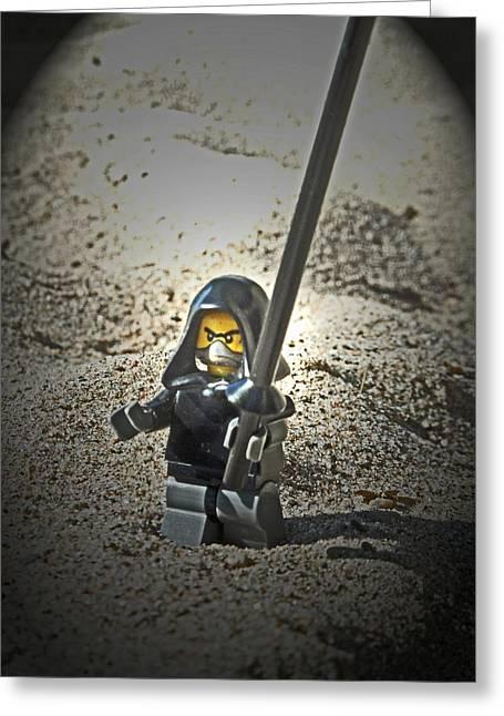 Lego Ninja Greeting Card by Cyryn Fyrcyd