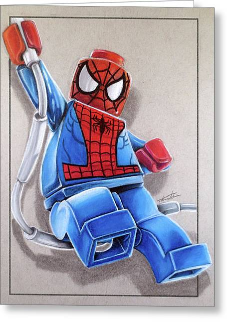 Lego Spiderman Greeting Card by Thomas Volpe
