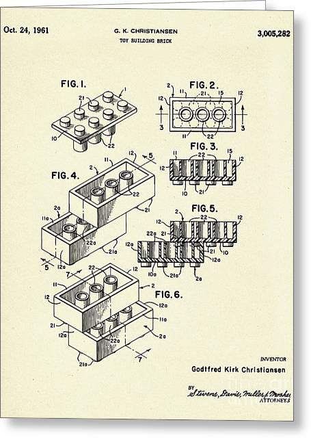 Lego Toy Building Brick-1961 Greeting Card by Pablo Romero