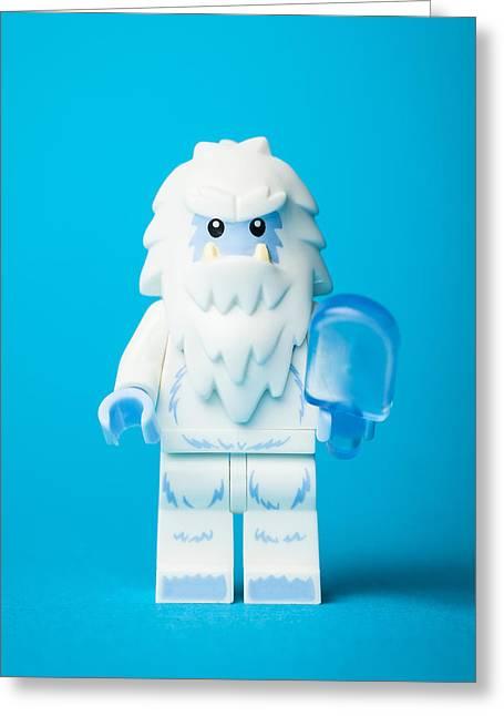 Yeti Greeting Cards - Lego Yeti Greeting Card by Samuel Whitton