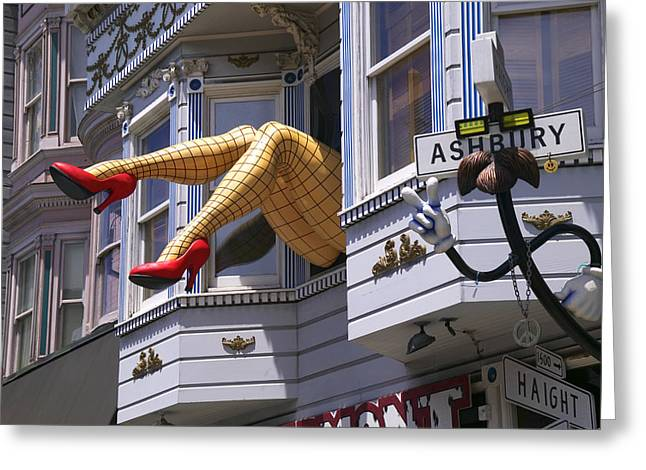 Humor Greeting Cards - Legs in window SF Greeting Card by Garry Gay