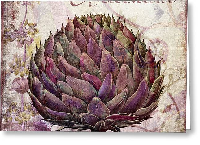 Food Art Paintings Greeting Cards - Legumes Francais Artichoke Greeting Card by Mindy Sommers