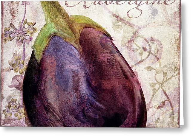 Food Art Paintings Greeting Cards - Legumes Francais Eggplant Greeting Card by Mindy Sommers