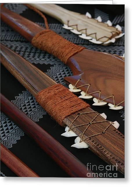 Honuaula Greeting Cards - Lei O Mano Hawaiian Koa Shark Teeth Dagger and War Clubs Greeting Card by Sharon Mau