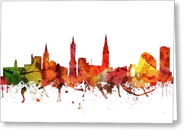 Midland Greeting Cards - Leicester cityscape 04 Greeting Card by Aged Pixel