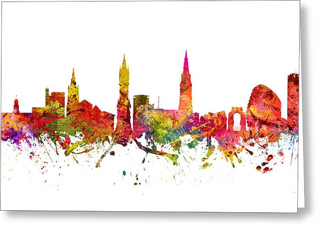 Midland Greeting Cards - Leicester cityscape 08 Greeting Card by Aged Pixel