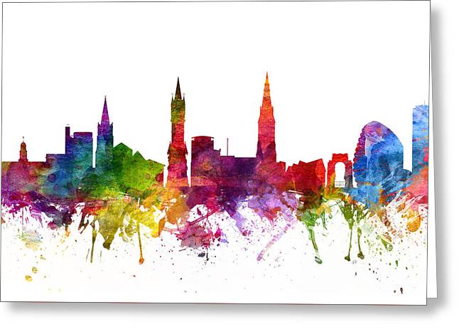 Midland Greeting Cards - Leicester England Cityscape 06 Greeting Card by Aged Pixel