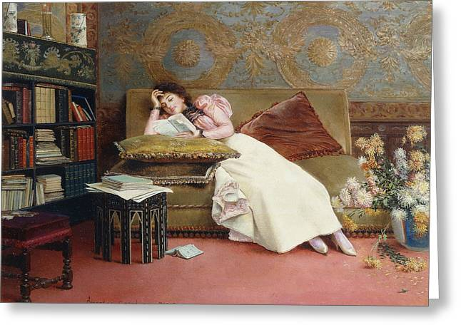 Cushion Paintings Greeting Cards - Leisure Hours Greeting Card by Georges Croegaert