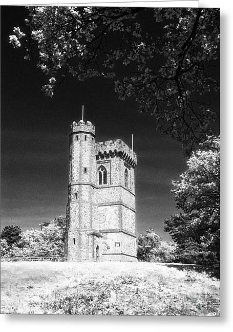 Victorian Greeting Cards - Leith Hill Tower Surrey England UK Black and White Greeting Card by Jon Boyes