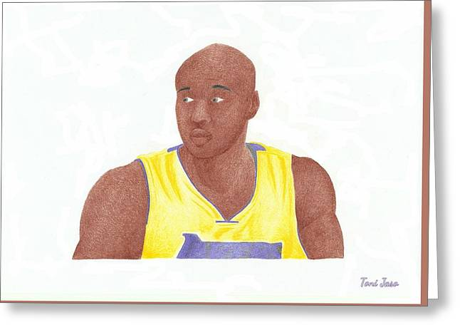 La Clippers Greeting Cards - Lemar Odom Greeting Card by Toni Jaso