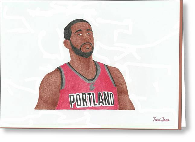 Slam Drawings Greeting Cards - Lemarcus Aldridge Greeting Card by Toni Jaso
