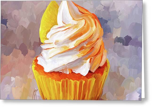 Reception Paintings Greeting Cards - Lemon Cupcake Greeting Card by Jai Johnson