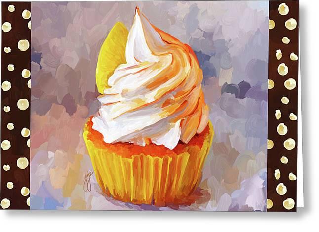 Reception Paintings Greeting Cards - Lemon Cupcake With Border Greeting Card by Jai Johnson