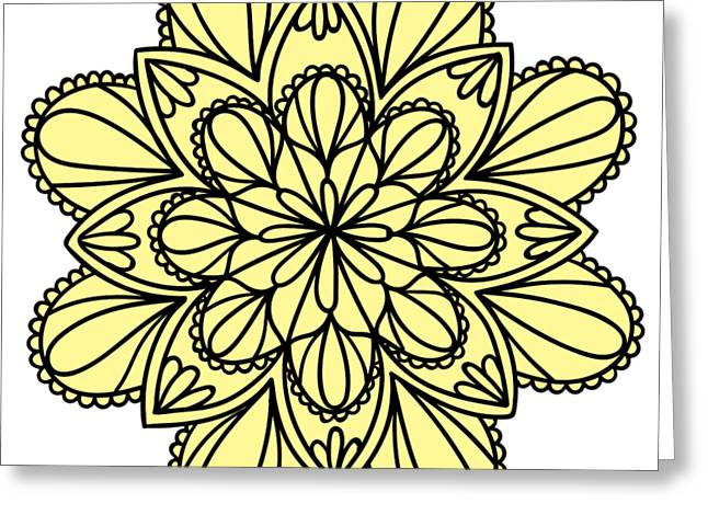 Lemon Lily Mandala Greeting Card by Georgiana Romanovna