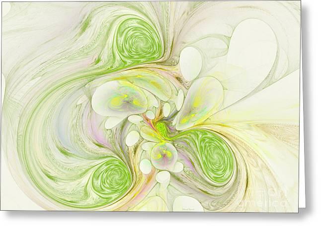 Surreal Geometric Greeting Cards - Lemon Lime Curly Greeting Card by Deborah Benoit