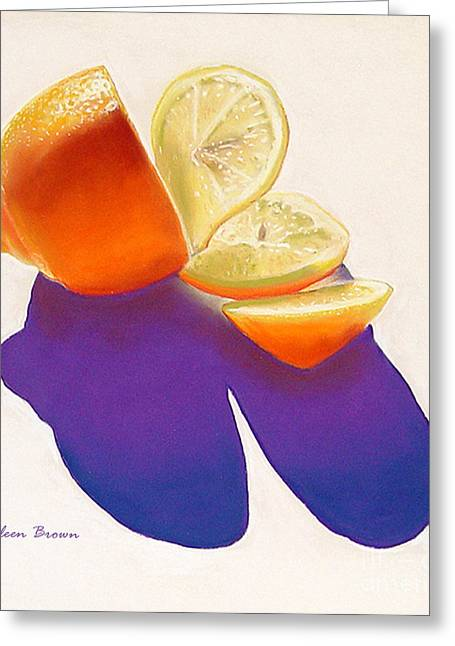 Food And Beverage Pastels Greeting Cards - Lemon Slice Greeting Card by Colleen Brown