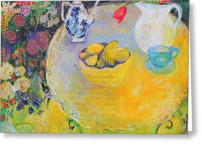 Lemon Tea In The Garden Greeting Card by Sylvia Paul