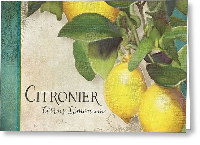 Orchard Greeting Cards - Lemon Tree - Citronier Citrus Limonum Greeting Card by Audrey Jeanne Roberts