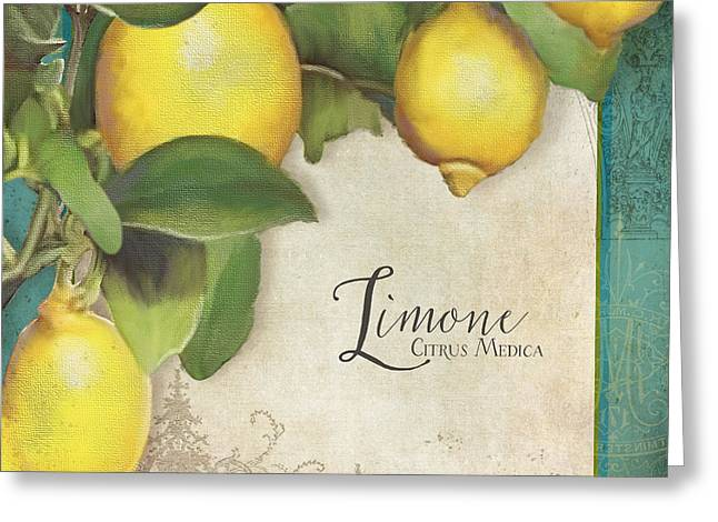 Lemon Art Greeting Card featuring the painting Lemon Tree - Limone Citrus Medica by Audrey Jeanne Roberts