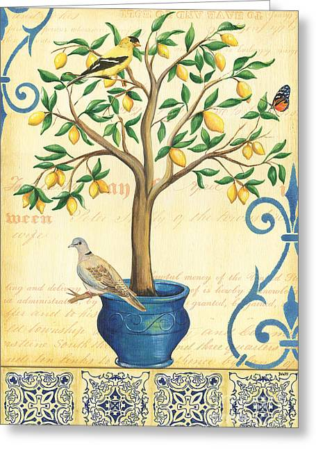 Doves Paintings Greeting Cards - Lemon Tree of Life Greeting Card by Debbie DeWitt
