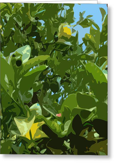 Racquet Greeting Cards - Lemon Tree with Something Pink Greeting Card by Stan  Magnan