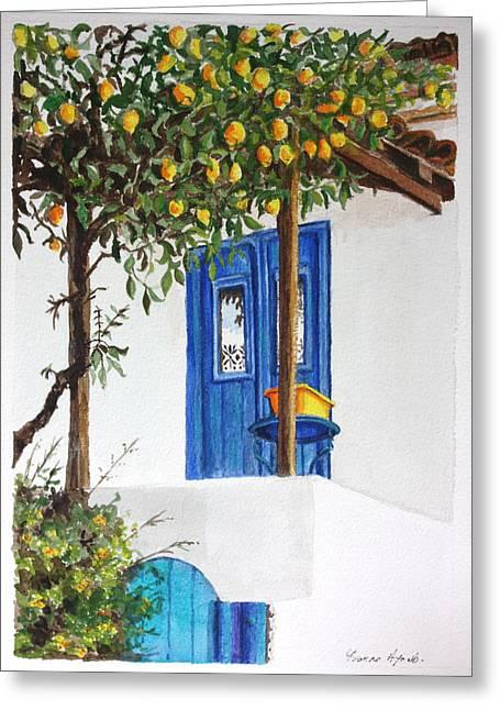 Yvonne Ayoub Greeting Cards - Lemon Tree Greeting Card by Yvonne Ayoub